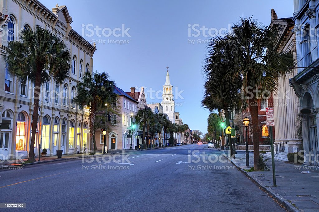 Quiet street in Charleston, South Carolina stock photo