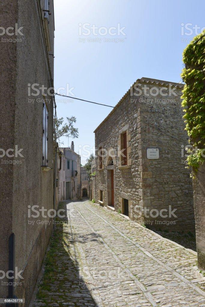 Quiet street in Erice stock photo