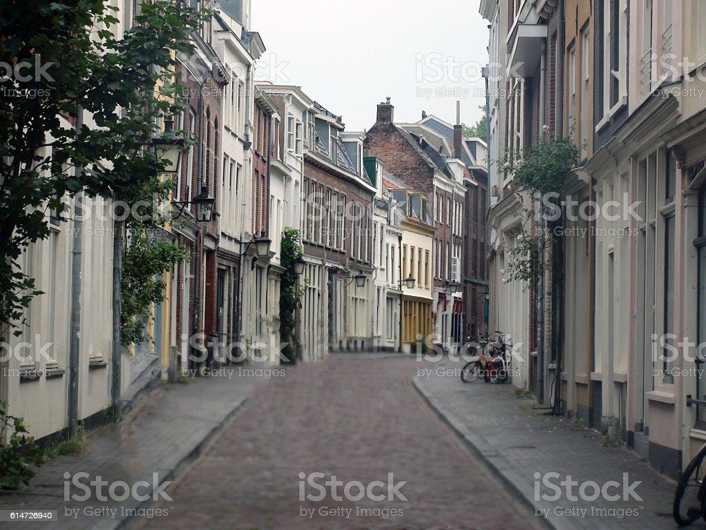 Quiet Street In Utrecht  In The Netherlands stock photo