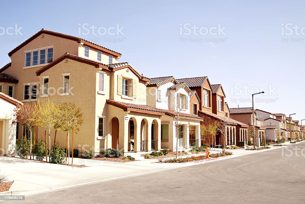 Quiet suburban neighborhood stock photo
