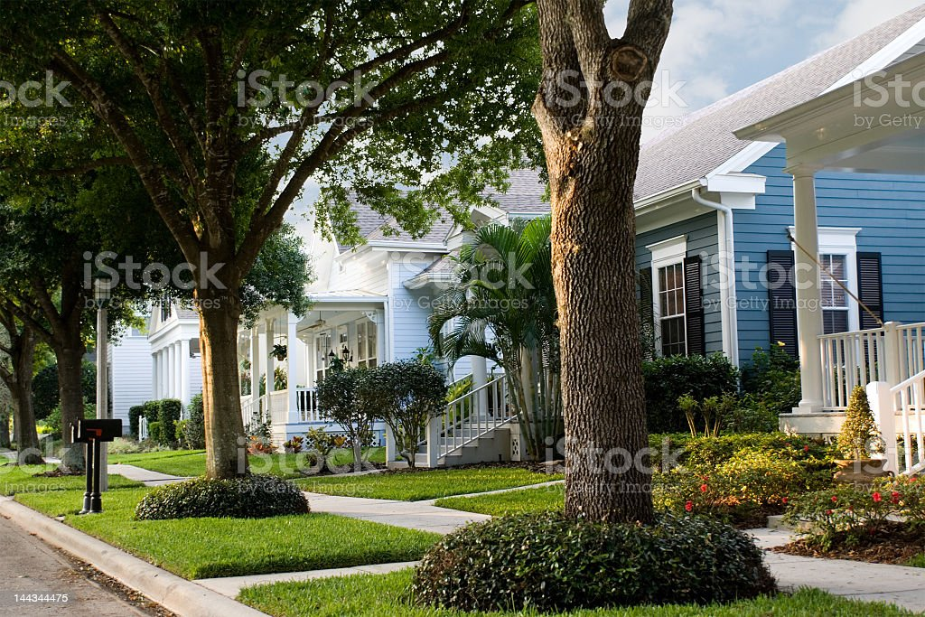 Quiet, suburban street in a small town  stock photo