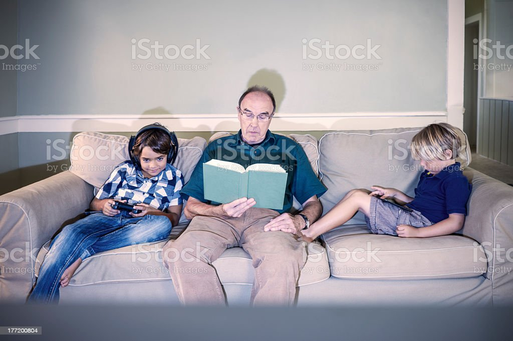 Quiet time with grandfather royalty-free stock photo