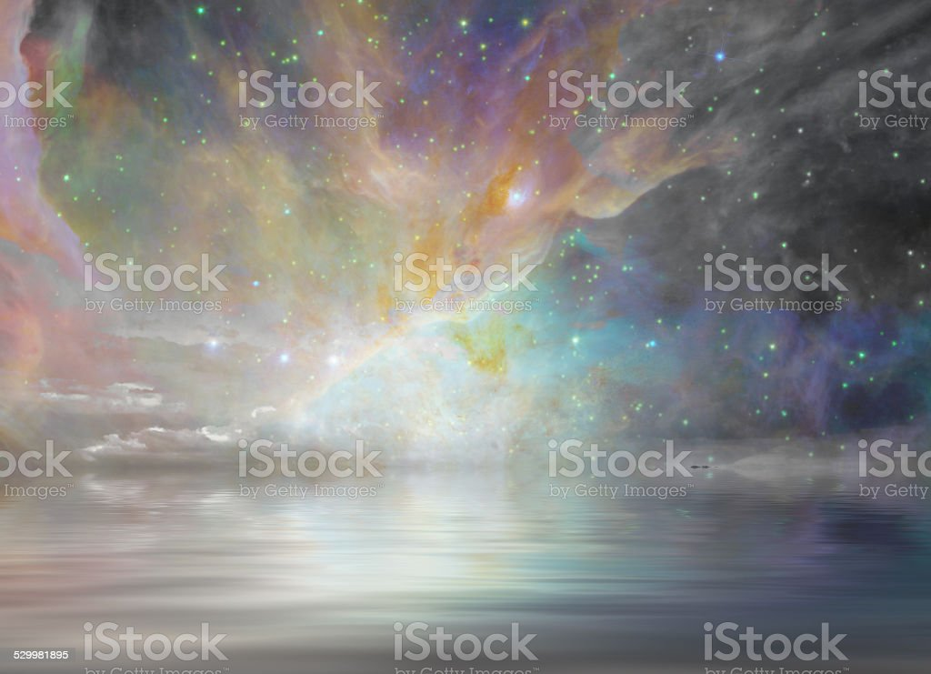 Quiet Waters and Starry Sky vector art illustration