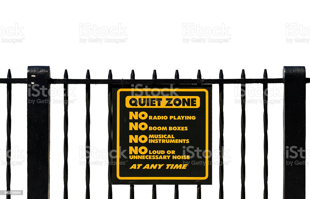 Quiet Zone Sign, Isolated, Black Fence, No Boom Boxes royalty-free stock photo