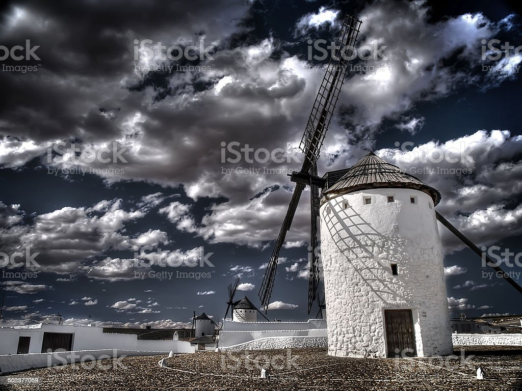 Quijote windmills stock photo