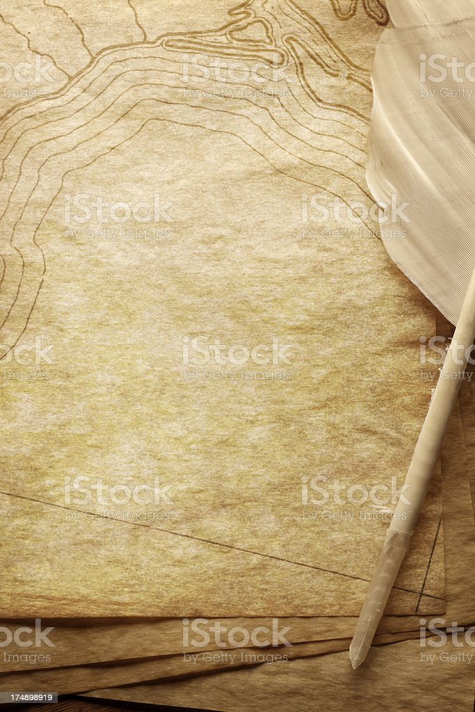 Quill and Old Map royalty-free stock photo