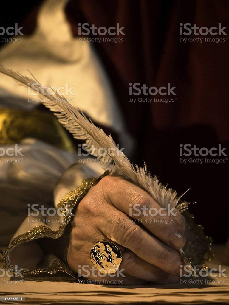 Quill and Signet Ring stock photo