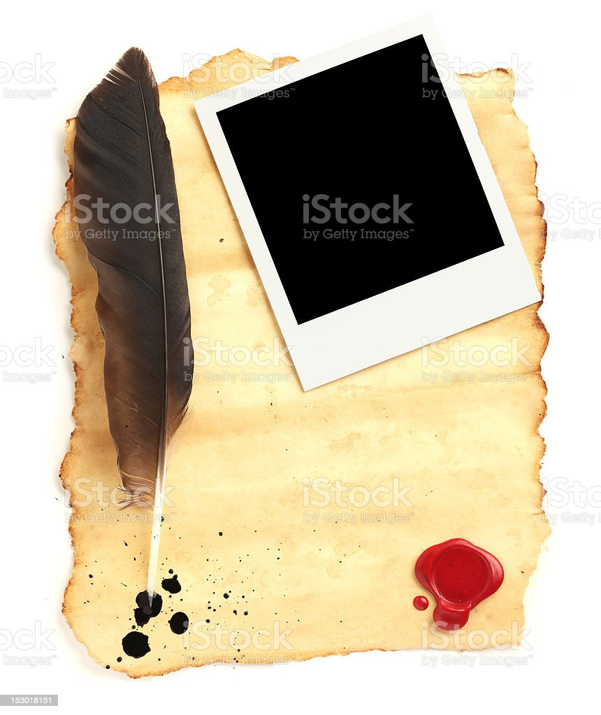 Quill on blank paper royalty-free stock photo