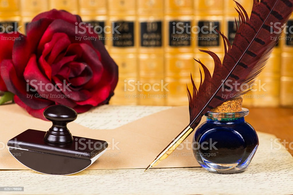 quill pen and ink stock photo