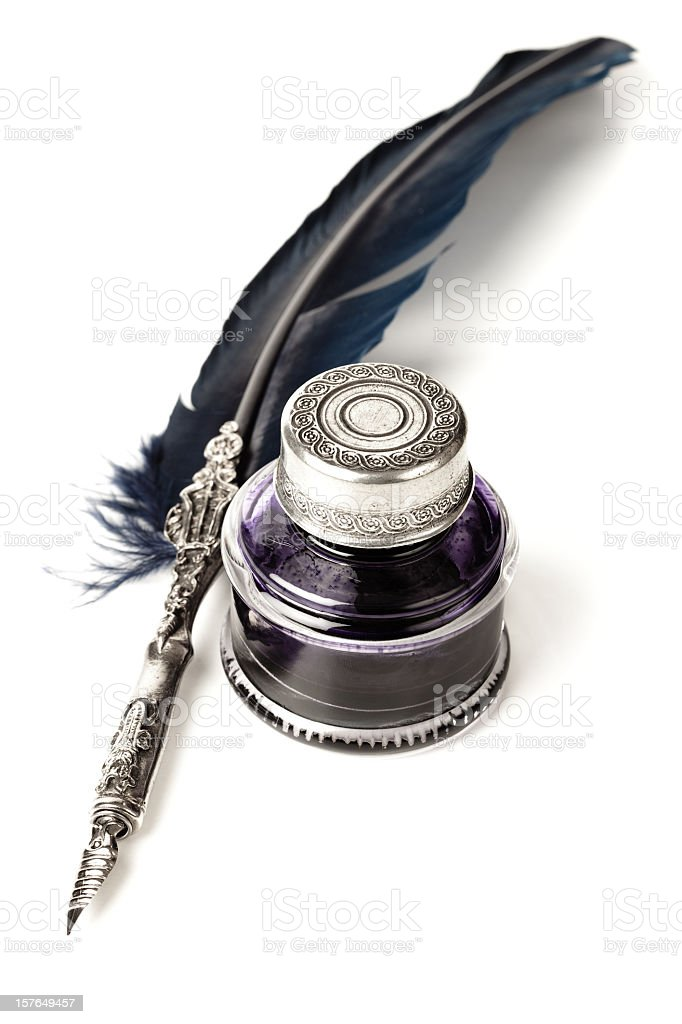 Quill pen and inkwell royalty-free stock photo