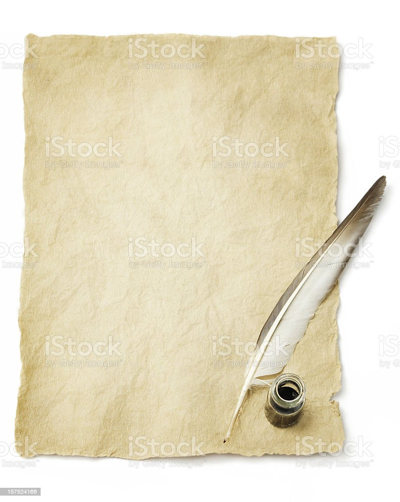 Quill pen & Ink bottle stock photo