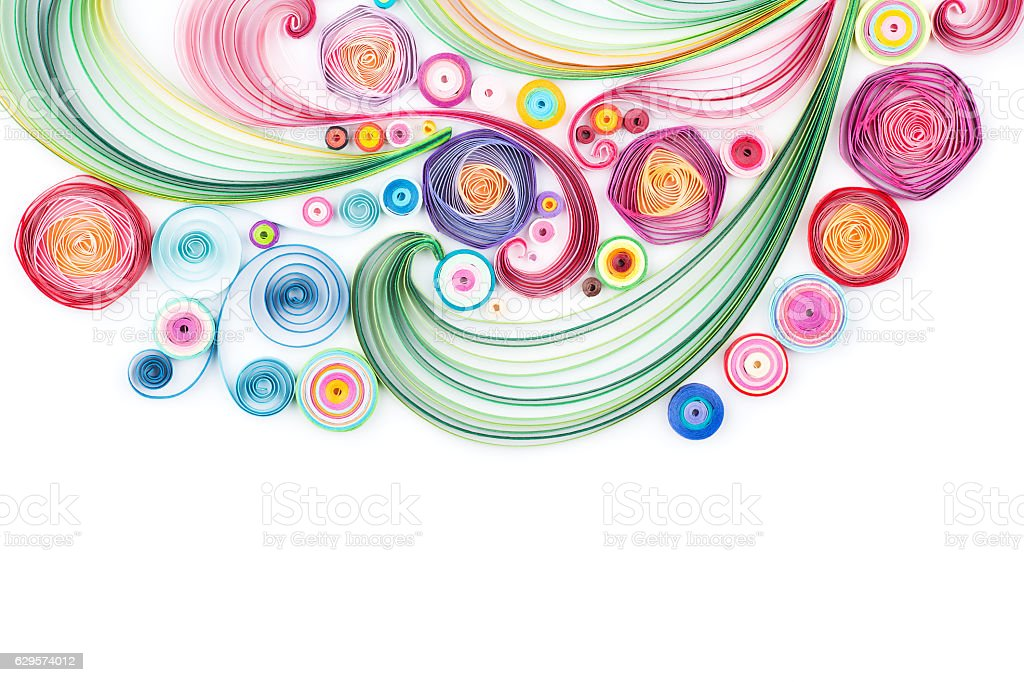 quilling paper flower designs isolated on white stock photo