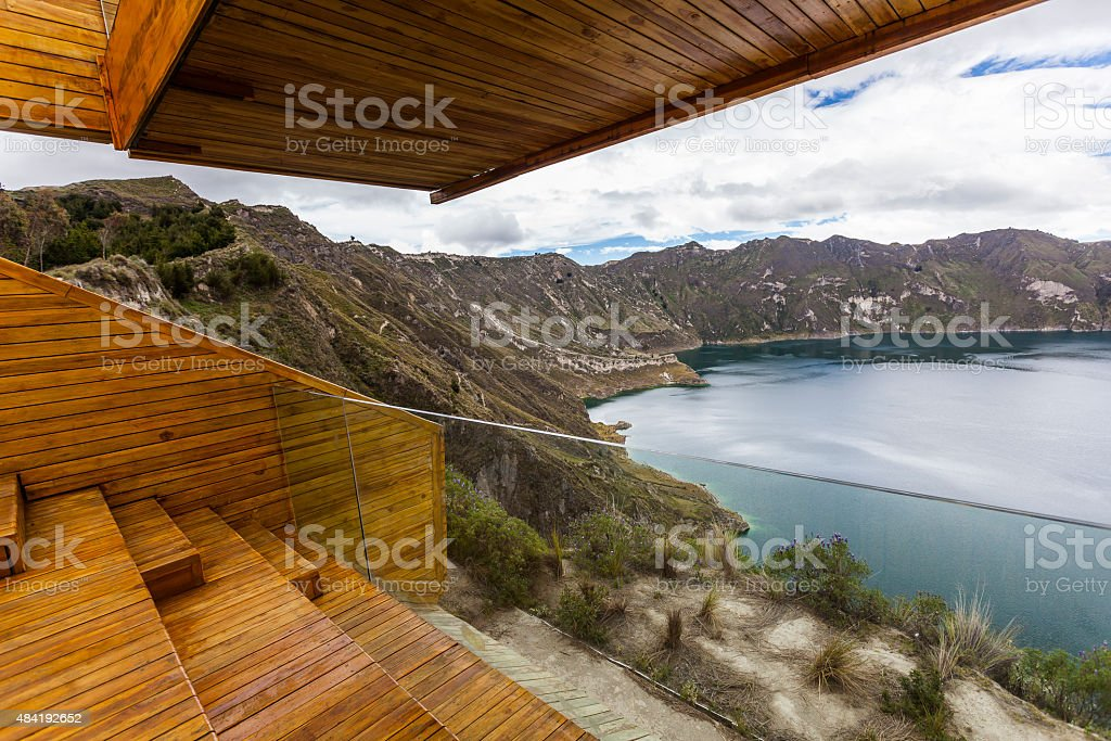 Quilotoa crater lake, Ecuador stock photo
