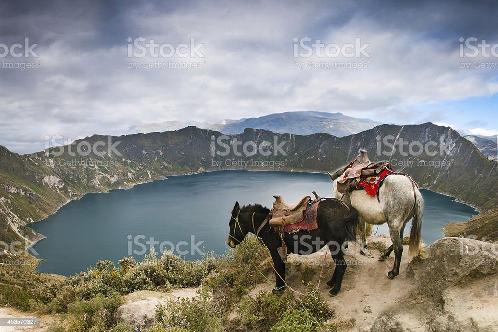 Quilotoa crater lake stock photo