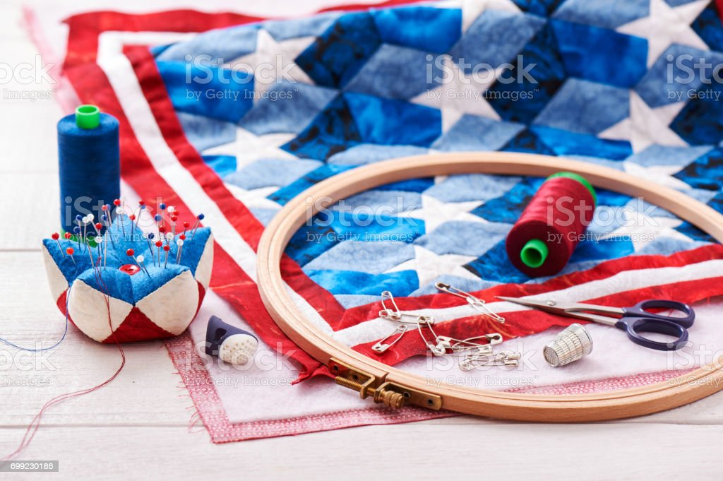 Quilt assembly with stylized elements of the American flag stock photo