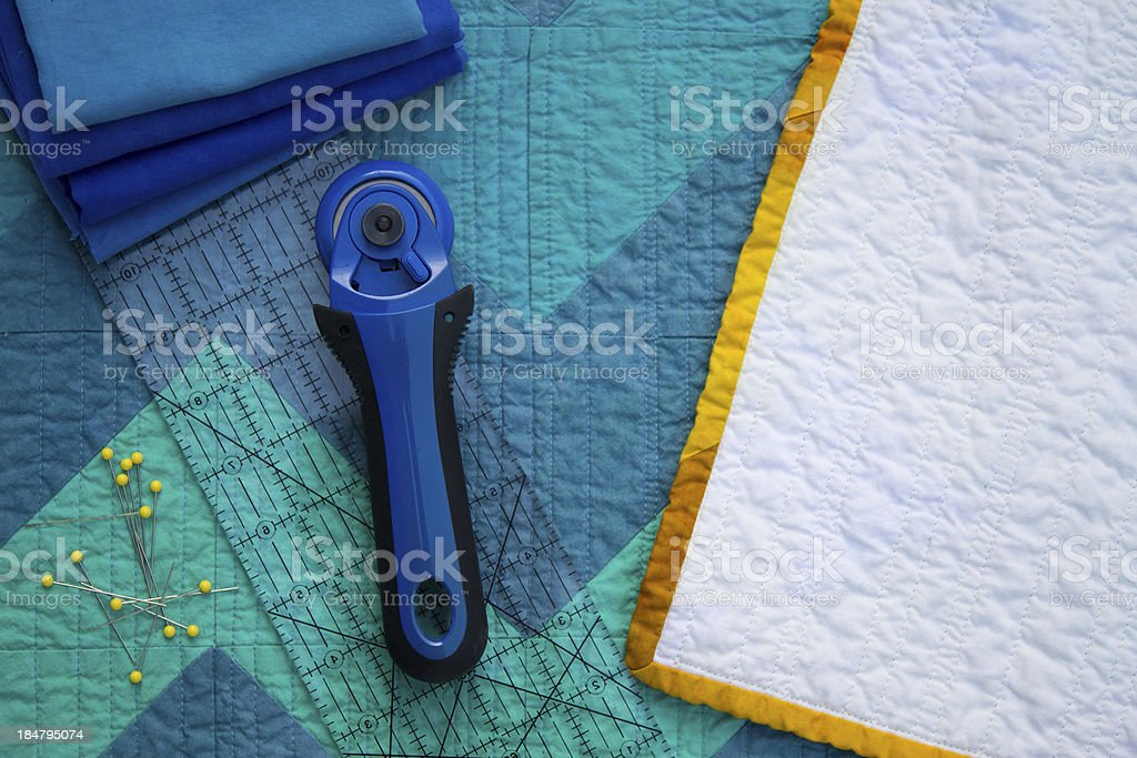 Quilt Back and Supplies stock photo