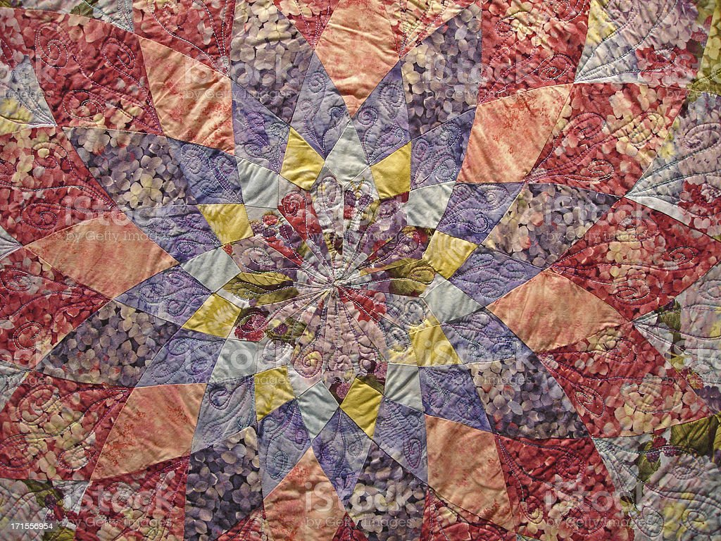 Quilt Background Flower and Star Shape royalty-free stock photo
