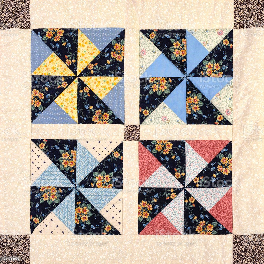 Quilt Block Pinwheel Pattern, Traditional Handmade Sewing and Needlecraft stock photo