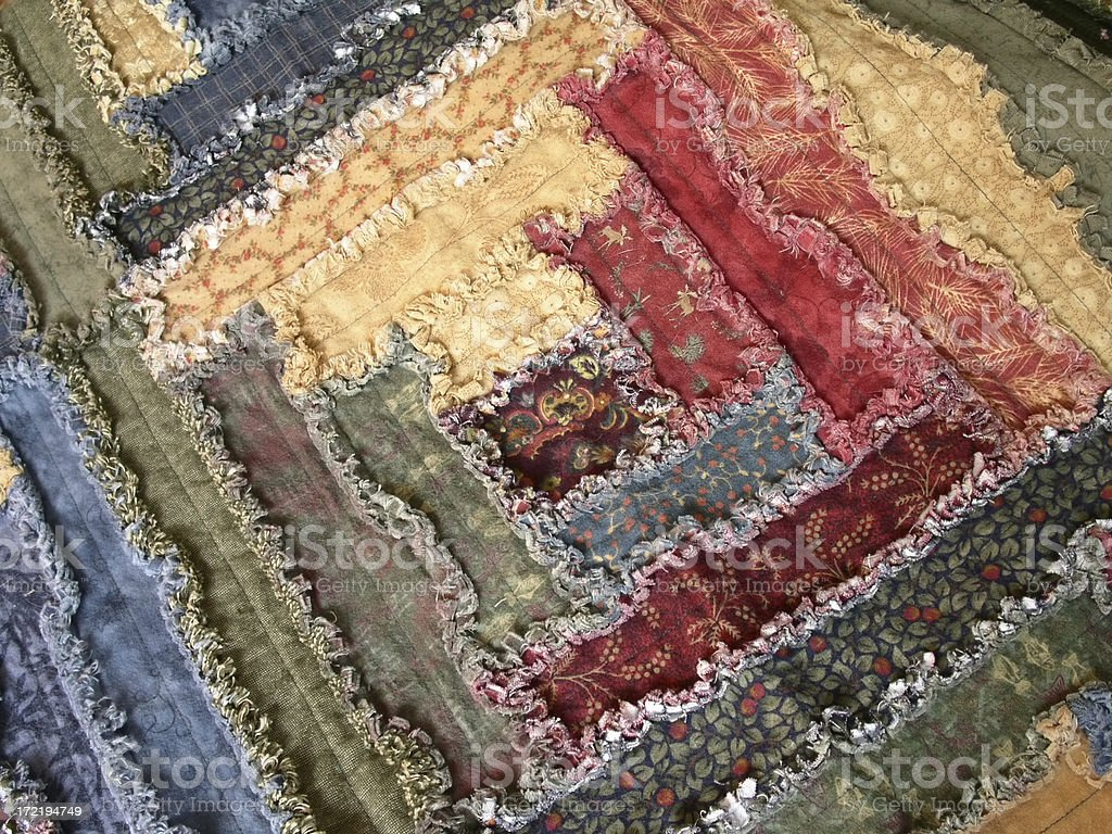 Quilt - Log Cabin Raggy royalty-free stock photo