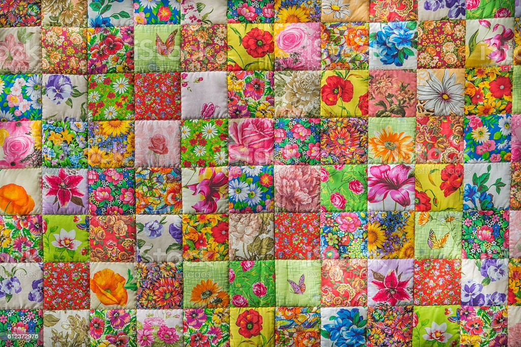 Quilt made of fabric scraps stock photo