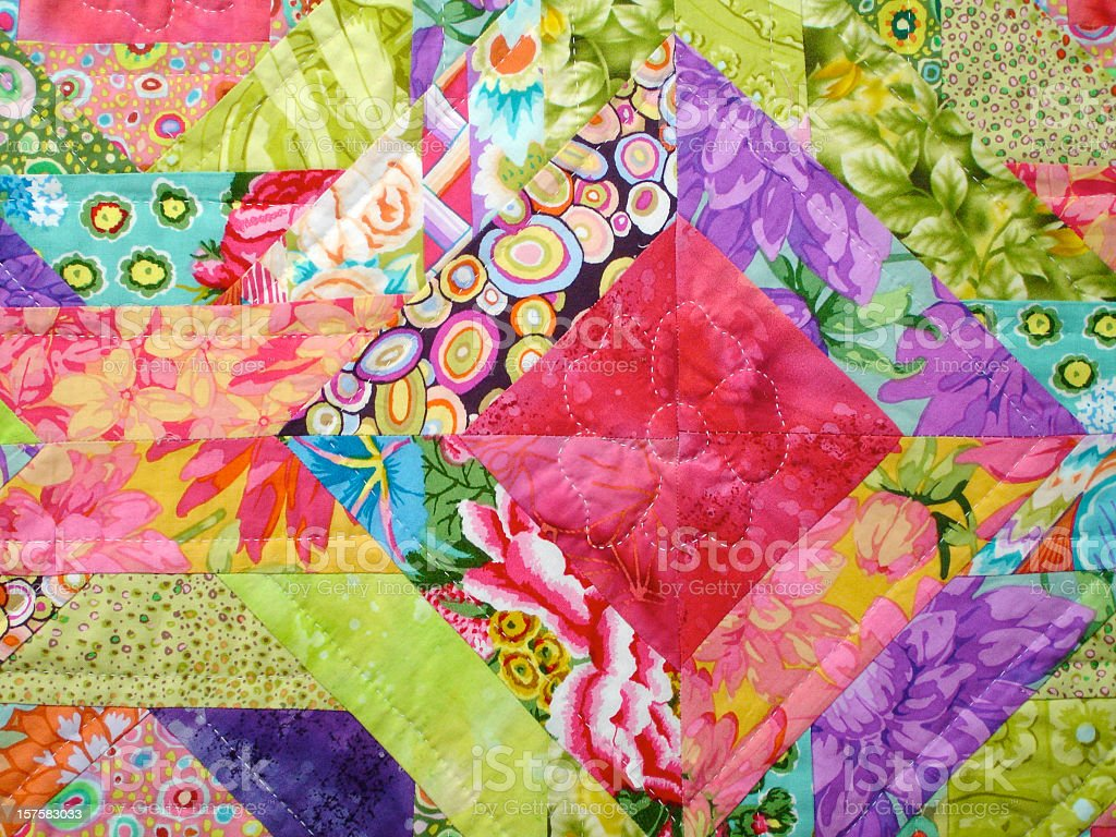 Quilt made with colorful squares stock photo