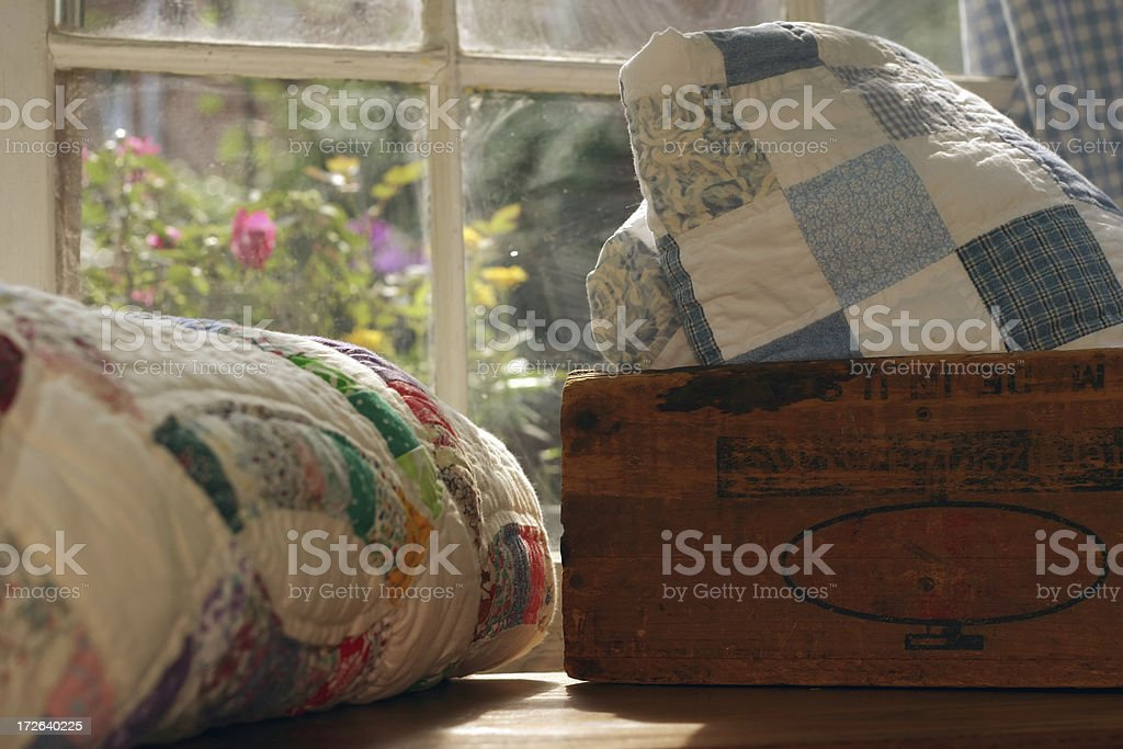 Quilt Scene: Antique Box stock photo