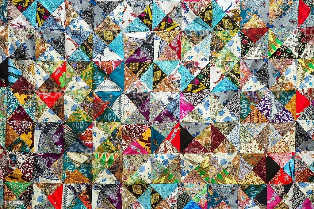 Quilt with distinct color abstract patterns stock photo