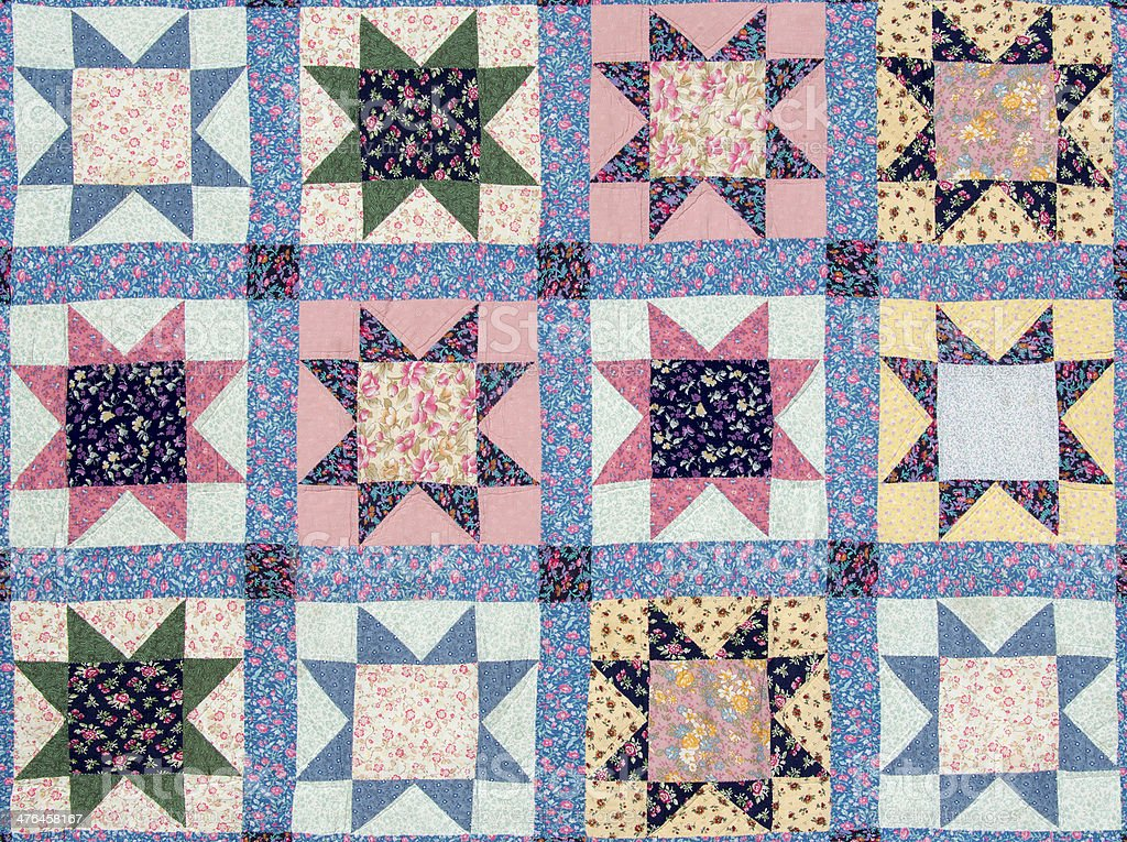 Quilt with star motives stock photo