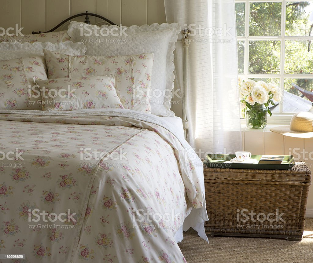 quilted bedding stock photo