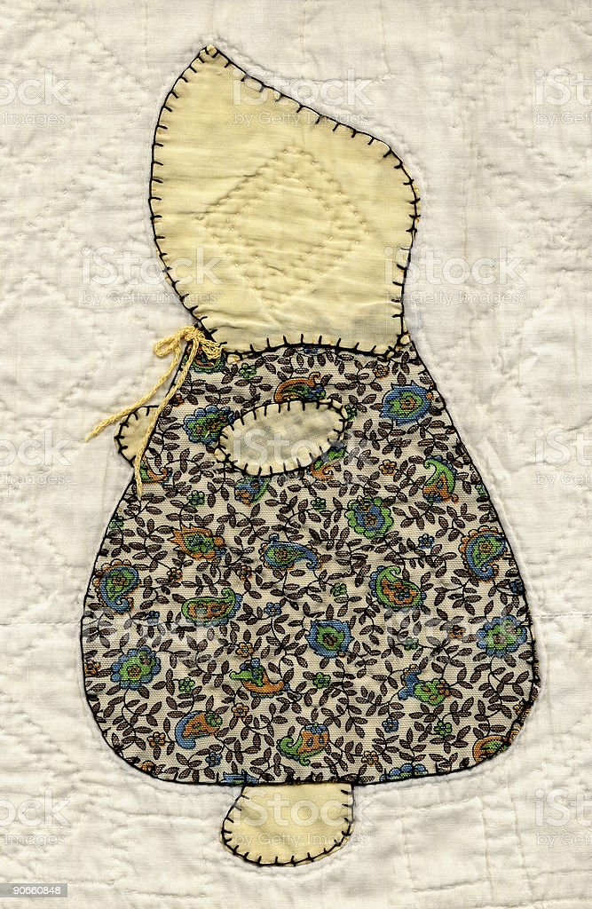 quilted Sunbonnet Sue royalty-free stock photo