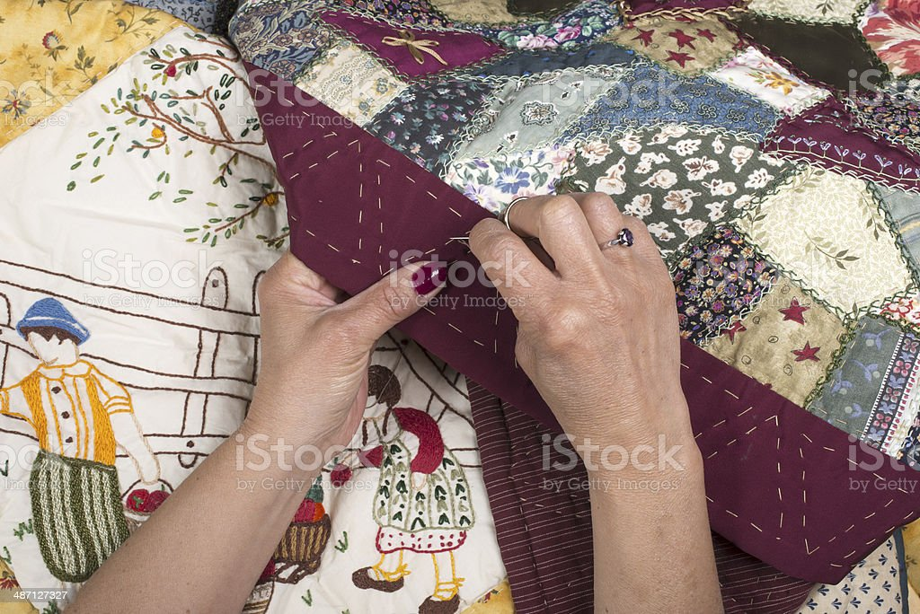 Quilting equipment and fabrics. stock photo