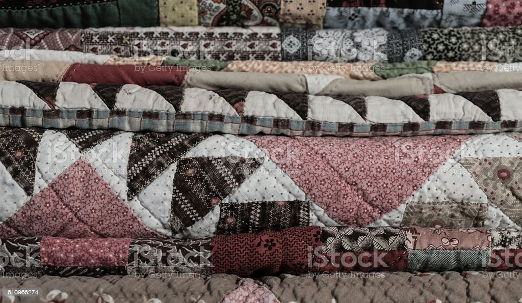 Quilts in a Stack stock photo