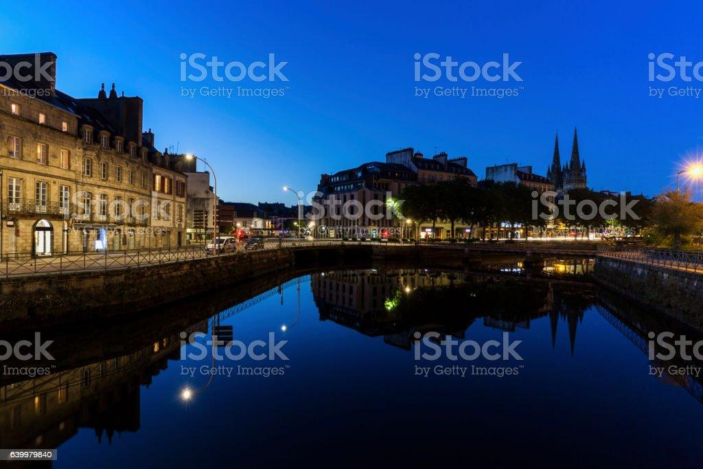 Quimper architecture and night stock photo