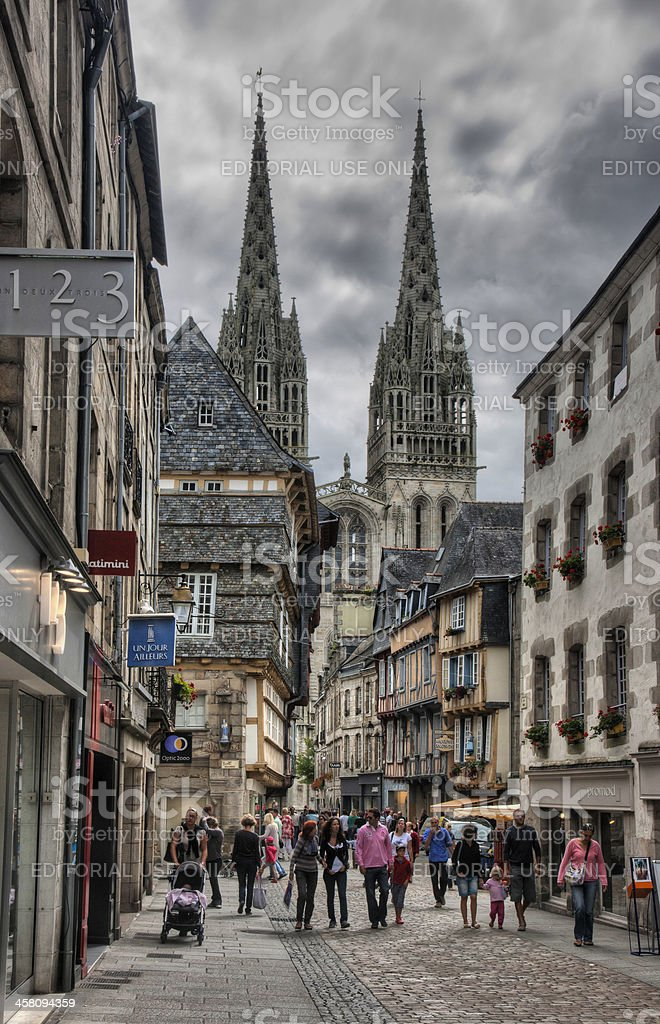 Quimper (Brittany) - Rue Kereon stock photo