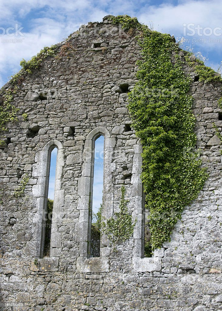 Quin Friary Wall with three windows and Ivy royalty-free stock photo