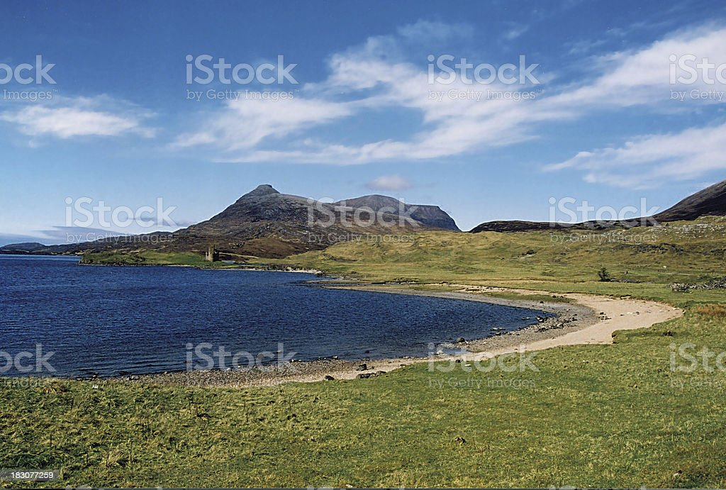 Quinag, Loch Assynt and Ardvreck Castle Sutherland Scotland stock photo