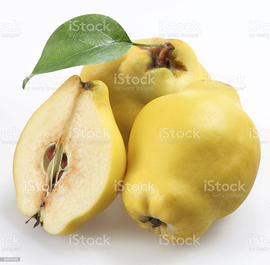 Quince fruits isolated on a white background stock photo