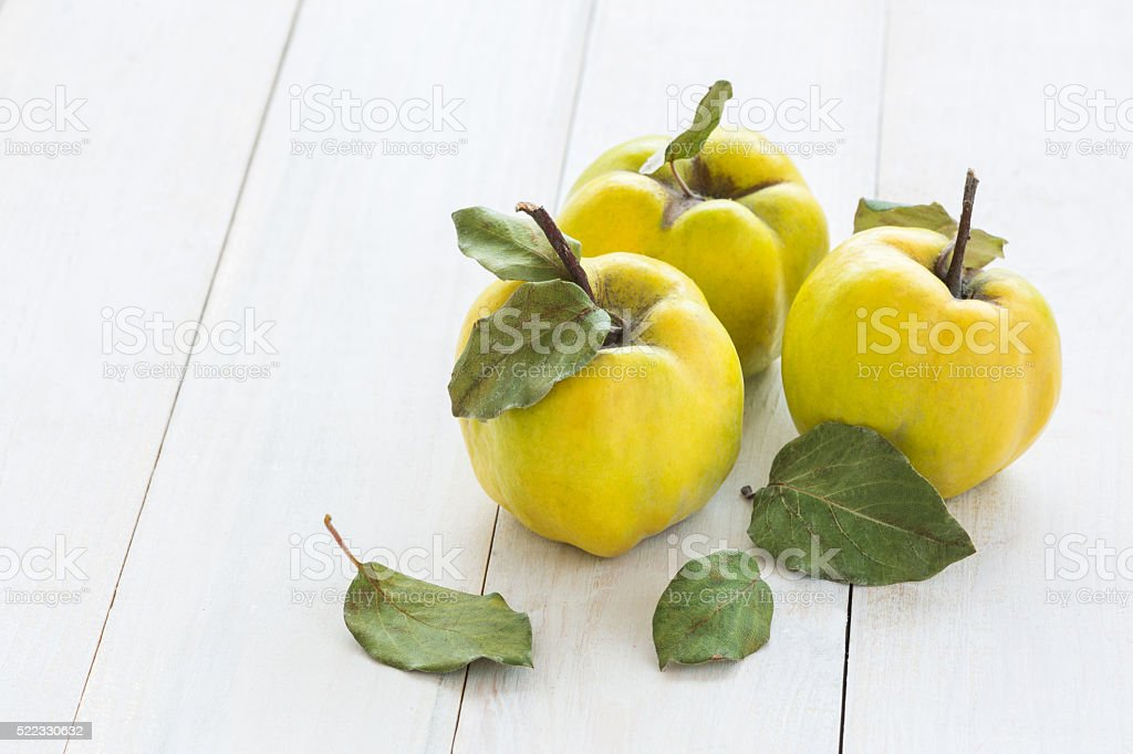 quince fruits on a white wooden background stock photo