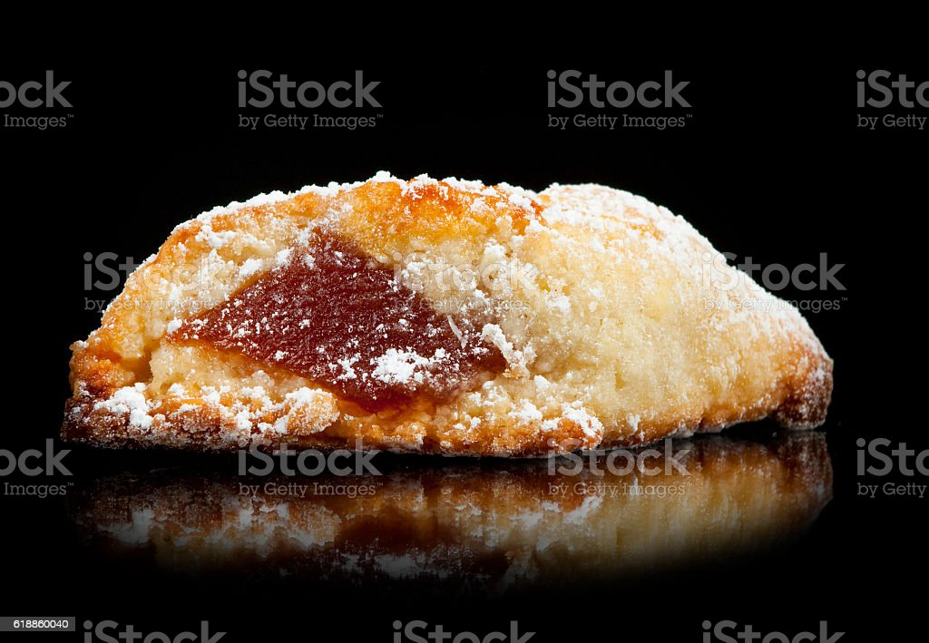 Quince panellets on black background stock photo