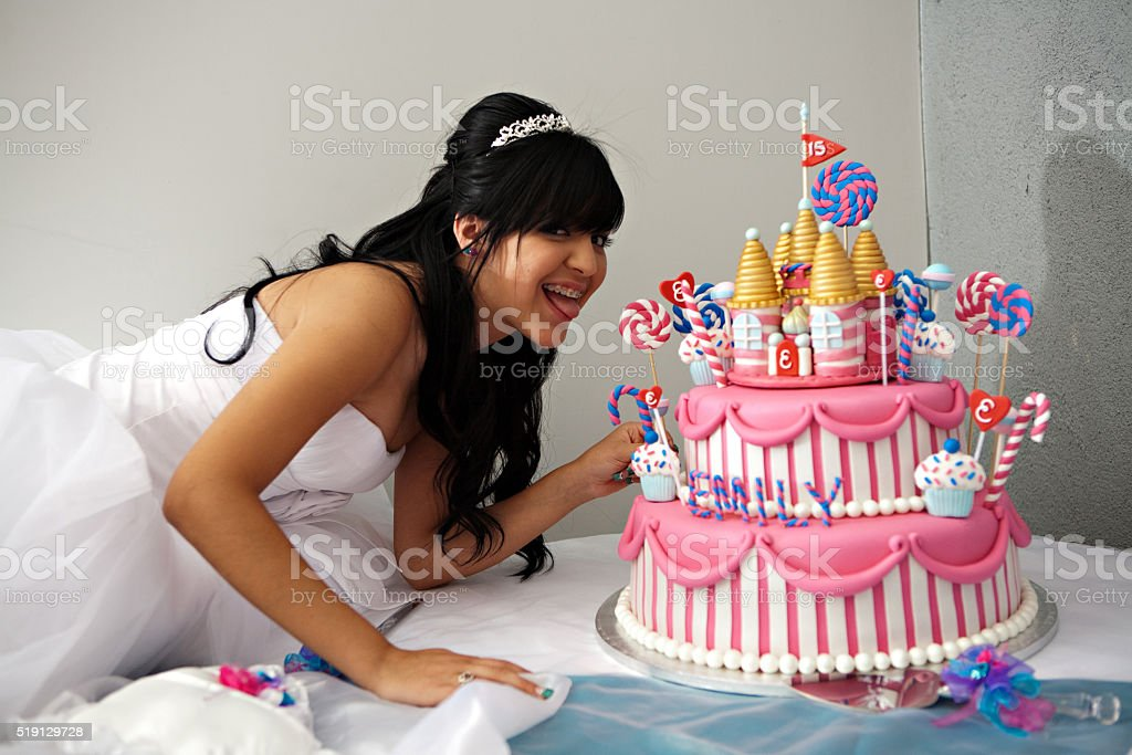 Quinceanera Birthday Cake stock photo