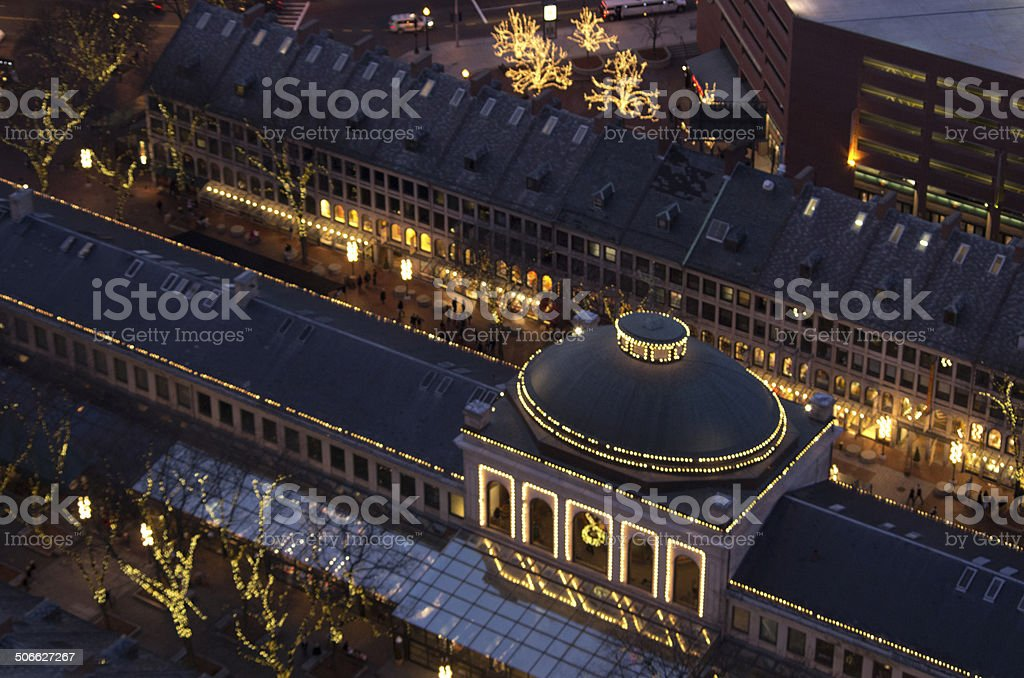 Quincy Market at night stock photo