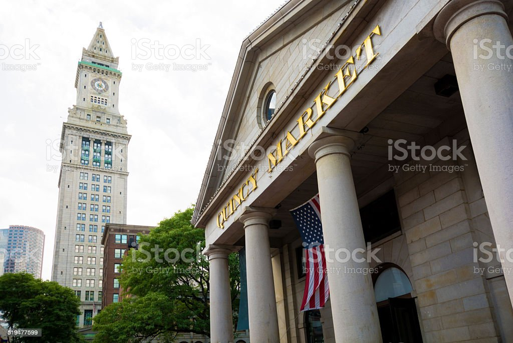 Quincy Market with Custom House Tower in Boston, MA stock photo