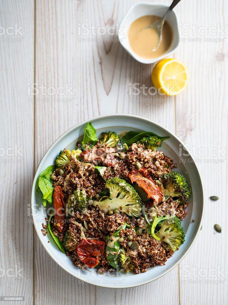 quinoa and roasted broccoli salad stock photo