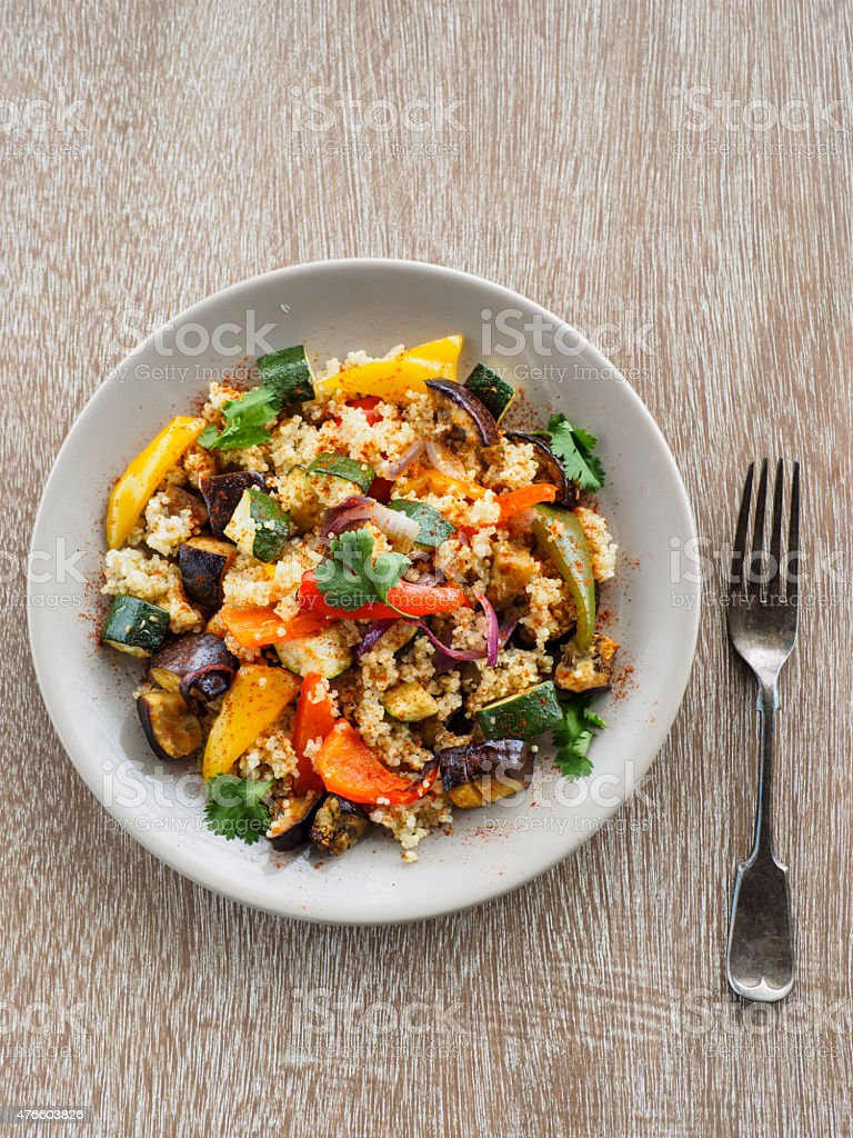 quinoa and roasted vegetable salad stock photo