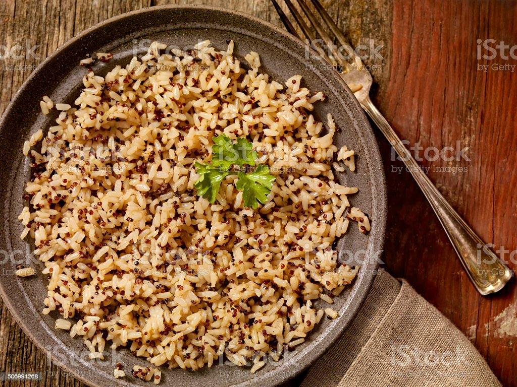 Quinoa Salad And Brown Rice stock photo