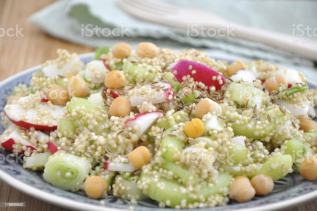 Quinoa Salad with chickpeas, red radish and cucumber royalty-free stock photo