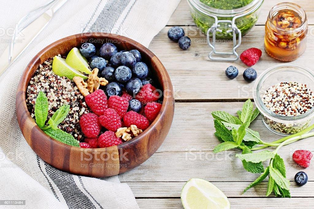 Quinoa salad with fresh berries stock photo