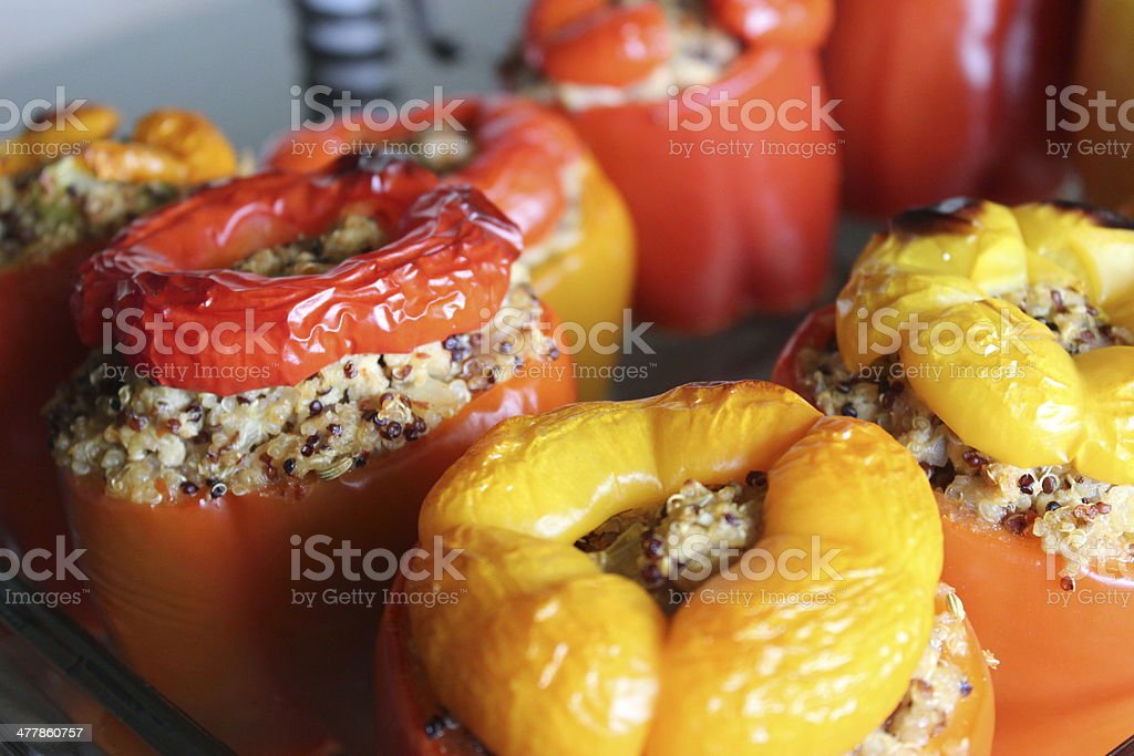 Quinoa Stuffed Red and Orange Bell Peppers 2 of 3 stock photo