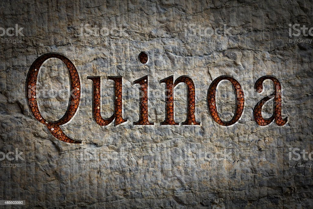 Quinoa Text Engraving stock photo