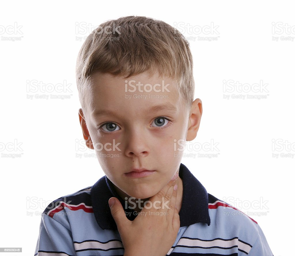 Quinsy. The boy keeps for a sick throat stock photo